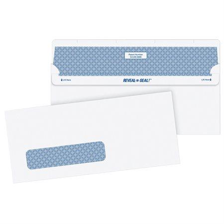 Enveloppe blanche Reveal N Seal® Avec fenêtre. #10. 4-1 / 8 x 9-1 / 2 po.