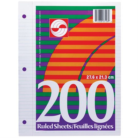 Lined Loose Leaf Sheet pkg 200