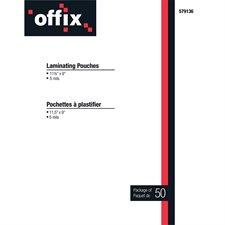 Pochettes à plastifier Offix® Épaisseur 5 mil pqt 50