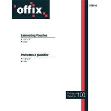 Pochettes à plastifier Offix® Épaisseur 5 mil pqt 100