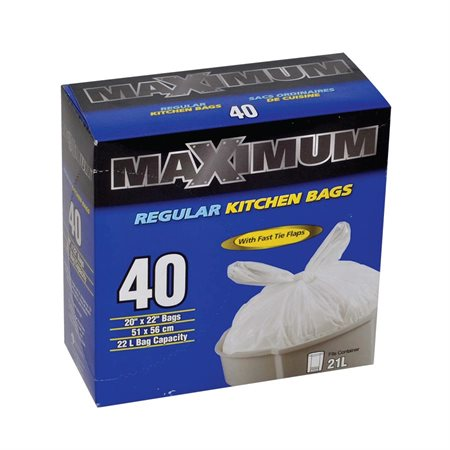 "Maximum Kitchen Garbage Bag 20 x 22"". Box of 40."