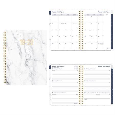 Agenda académique hebdomadaire mensuel marbre (2019-2020) gris