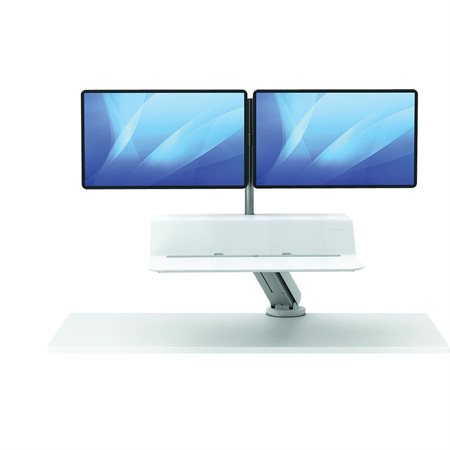 Station de travail convertible assis-debout Lotus™ RT Moniteur double blanc