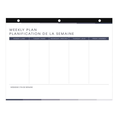 Undated Weekly Desk Pad Calendar