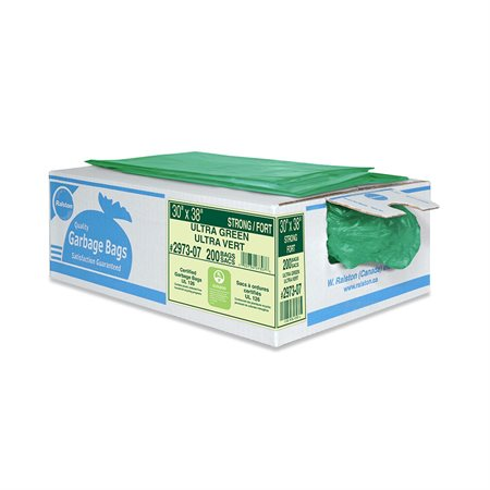 """2900 Series Ultra Industrial Garbage Bags Strong, 35 x 50"""". Box of 125. green"""