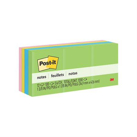 Feuillets originaux Post-it® - collection Jaipur 1-1 / 2 x 2 po bloc de 100 feuillets (pqt 12)