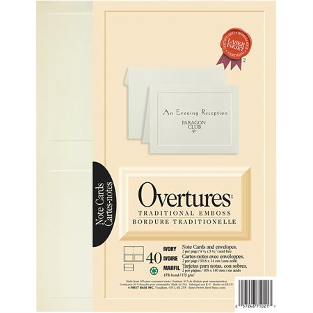 Cartes de notes Overtures® ivoire