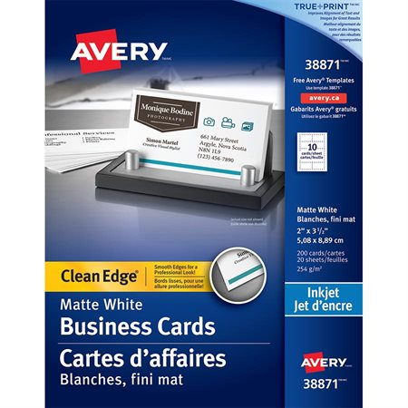 Clean edge business cards Ink jet white, 94 lb