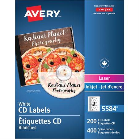 Étiquettes pour CD Permanent. Pour imprimantes laser. pqt 200