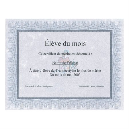 Certificats St.James™ Paquet de 25 bleu