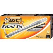 Stylos à bille Round Stic™ Pointe moyenne, boîte de 12. noir