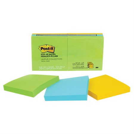 Post-it® Original Notes – Jaipur Collection 3 x 3 in., pop-up 100-sheet pad (pkg 12)