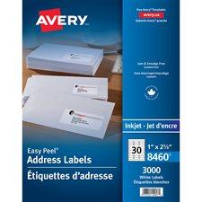 """Étiquettes d'adresse blanches Easy Peel® Boîte de 100 feuilles 2-5/8 x 1"""" (3000)"""