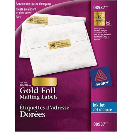 Étiquettes d'adresse métallisées dorées