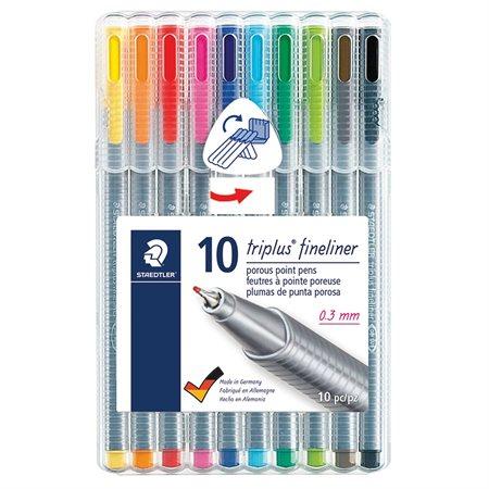 Marqueur Triplus® Fineliner Paquet de 10 couleurs variées