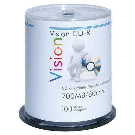 CD-Rom inscriptible 52x Paquet de 100, sur axe.