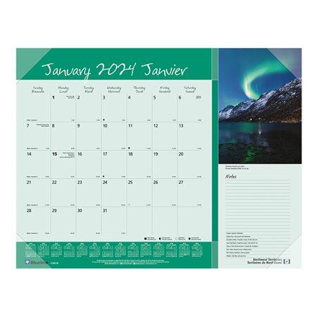 Monthly Desk Pad Calendar (2021) Canadian provinces