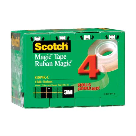 Ruban adhésif Scotch® Magic™ Recharge 18 mm x 25 m. Paquet de 4.