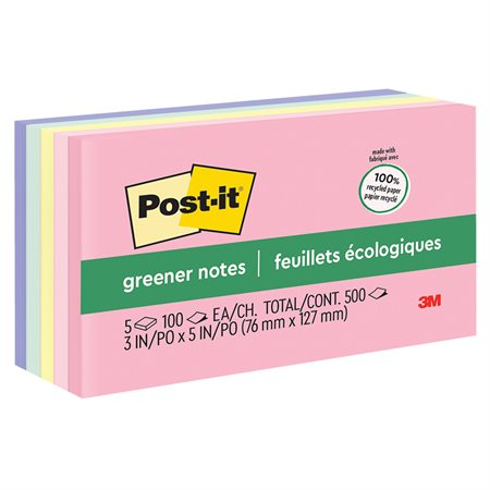 Feuillets Post-it® Greener Notes - collection Helsinki 3 x 5 po bloc de 100 feuillets (pqt 5)