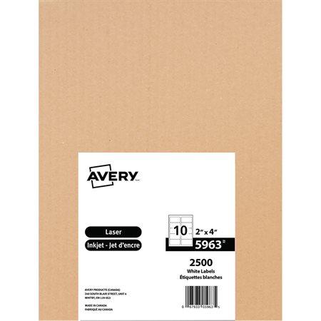"""Étiquettes d'expédition blanches laser TrueBlock™ Boîte de 250 feuilles 4 x 2"""" (2500)"""