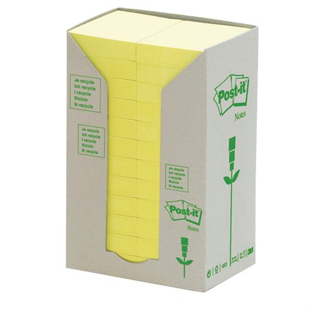 Feuillets autoadhésifs recyclés Post-it® Jaune Canari 1-1 / 2 x 2 po. (24)