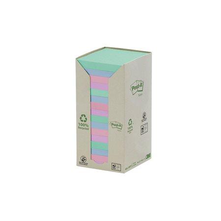 Feuillets autoadhésifs recyclés Post-it® Couleurs pastel arc-en-ciel 3 x 3 po. (16)