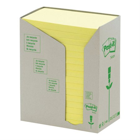 Feuillets autoadhésifs recyclés Post-it® Jaune Canari 3 x 5 po. (16)