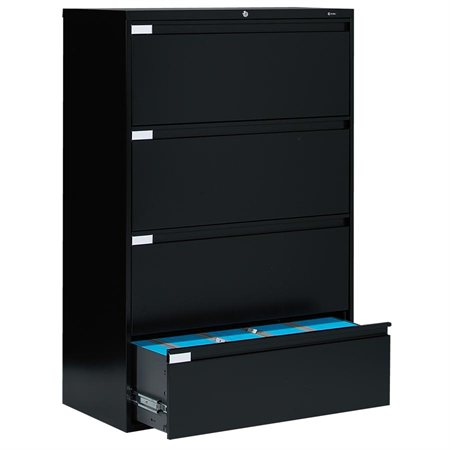 Fileworks® 9300 Plus Lateral Filing Cabinets 4 drawers black