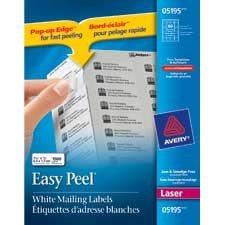 """Étiquettes d'adresse blanches laser Easy Peel® Paquet de 25 feuilles 1-3/4 x 2/3"""" (1500)"""