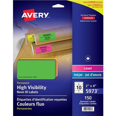 """Étiquettes fluorescentes 4 x 2"""". Paquet de 150. variées"""