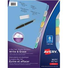 Big Tab™ Write & Erase Plastic Dividers 8 tabs