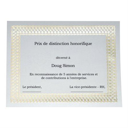 Certificats dorés métallisés St.James™ Elite Paquet de 100 Classique