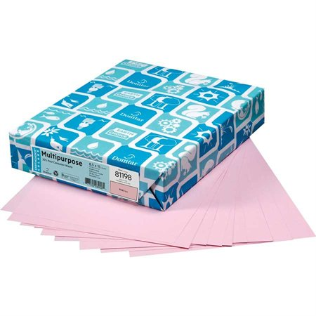 "Papier de couleur à usages multiples EarthChoice® Format lettre - 8-1 / 2 x 11"" rose"