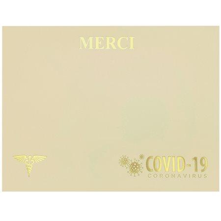 Certificat remerciement Covid-19 français