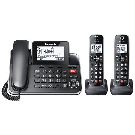 Téléphone KX-TGF87B 2-en-1 filaire | sans fil avec 2 combinés