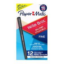 Write Bros.® Ballpoint Pens Fine point. Box of 12. black