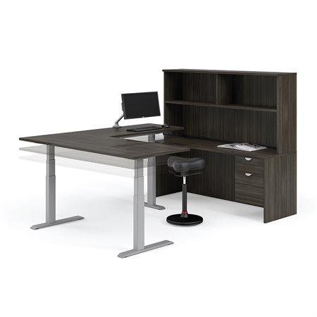 Poste de travail en L Innovation avec bureau ajustable en hauteur gris crépuscule