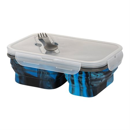 2 compartments collapsible silicone food container
